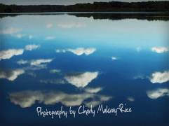 Reflection of clouds in Buffalo Lake, Marquette County, Wisconsin just before sunset.